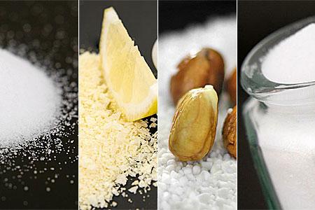 Hushållssalt, salt med citronsmak, grovt salt samt mineralsalt