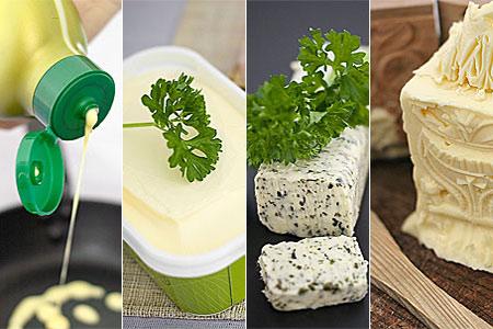 Flytande-, bords-, kryddat- och vanligt smör