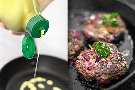 Flytande smör & rapsolja smaksatt med oliv och halstrad råbiff