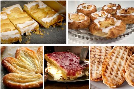 danska wienerbröd, spandauer, kanapéer, napoleonbakelse, franska wåfflor