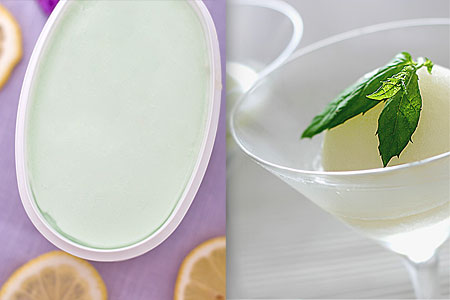 Sorbet med citron- och kaktussmak samt hemlagad champagnesorbet