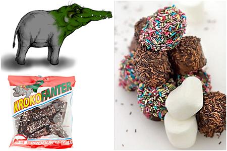 Krokofanter, choklad- och strösseldoppade mashmallows