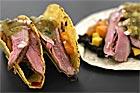 Tacos med ankbröst och svart böndip - recept