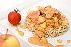 Korv Stroganoff med äpple och råris - recept