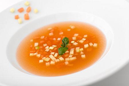 Soupe été de tomate, kall tomatsoppa (förrätt)