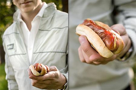 Baconinlindad varmkorv med bröd