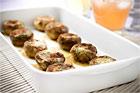 Ädelfyllda champinjonhattar (plockmat) - recept
