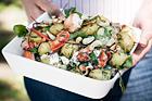 Lyxig potatissallad med hummer, feta och cashewnötter - recept