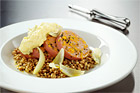 Apelsinkorv med curryröra och matvete med oregano - recept