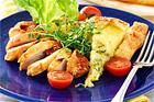 Kycklingfilé med Västerbottenost, soltorkade tomater och potatispizza - recept