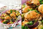 Kycklinglårfiléer med krämig fetaost och höstgrönsaker - recept