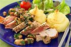 Ostgratinerat mos och kycklingbröstfilé med bacon & rosmarin - recept