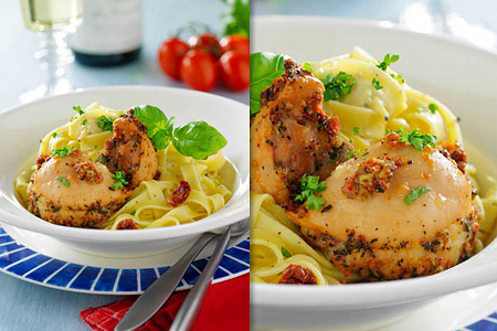 Kycklinglårfilé med krämig fetaost och pasta