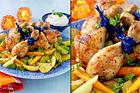 Örtmarinerade kycklingben med rostade rotfrukter - recept