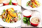 Ljummen sötpotatissallad med strimlad kyckling, ingefära och hasselnötter - recept