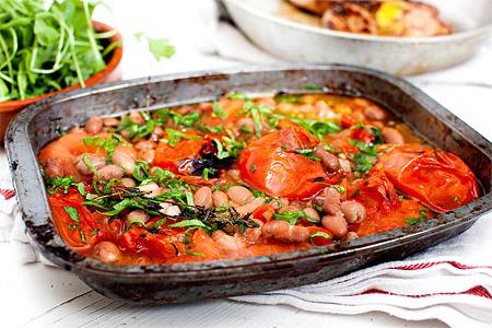 Rostade tomater med borlottibönor (tillbehör)