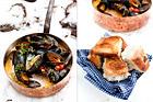 Musselsoppa med rökt sidfläsk, tomater och grädde - recept