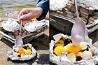 Varma fruktpaket med kesella på grillen - recept