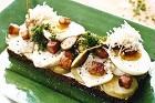 Inkokt torsk på rågbröd med ägg och sidfläsk - recept