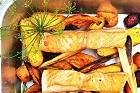 Halstrad lax med varm senapsdressing - recept