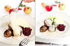 Viltköttbullar med palsernackspuré, äppelgräddsås och lingon - recept