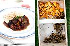Rådjursgryta med rökt sidfläsk, kantareller och gräddkokta bönor - recept