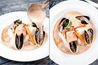 Fisksoppa med torsk, lax och skaldjur - recept