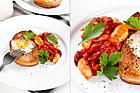 Stekt bröd med ägg och bönor i tomatsås - recept