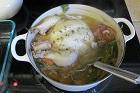Kokt höna eller kyckling med ris och curry - recept