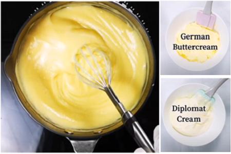 Custard buttercream, äggsmörkräm, German and Diplomat buttercream