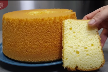 Chiffon-anslag, Chiffon cake, sockerkaka på vispad gula och vita - recept